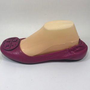 Tory Burch Minnie Pink Leather Flats Sz 8.5M